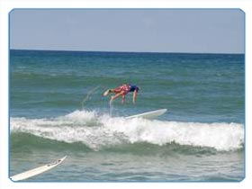 Sporting activities on the Atlantic surf near Biarritz