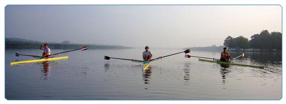 rowing on the tranquil lake at soustons